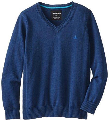 Calvin Klein Big Boys' Ck V-Neck Sweater, Squid Ink, Medium