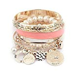 Doinshop New Useful Cute Nice Korean Style Girls Exquisite Coin Pearl Hollow Bracelet Jewelry (pink)