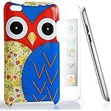 CASEiLIKE ® - Owl-Grafikdesign - BLAU - Snap on Back Cover Gehäuse für Apple 4 G Touch / iPod Touch 4 Generation - mit Displayschutzfolie 1pcs.