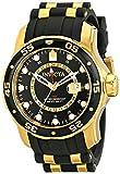 Invicta 6991 Men's Pro Diver Gold Tone GMT Black Polyurethane Rubber Strap Swiss Watch