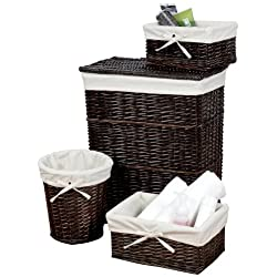 Creative Bath Wickerworks 4-Piece Hamper/Storage Set Walnut