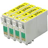 4 Compatible Yellow Printer Ink Cartridges to replace T0804 for use in Epson Stylus Photo P50, PX650, PX660, PX700W, PX710W, PX720WD, PX800FW, PX810FW, R265, R285, R360, RX560, RX585, RX685