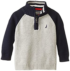Nautica Babys Infant Long Sleeve Color Block Sweater, Ash Heather, 18 Months