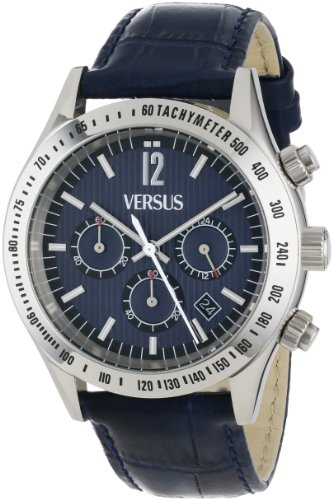 Versus by Versace Women's SGC020012 Cosmopolitan Round Stainless Steel Blue Dial Chronograph Watch