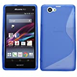 Samrick S Wave Hydro Gel Protective Case, Screen Protector, Microfiber Cloth for Sony Xperia Z1 Compact - Blue
