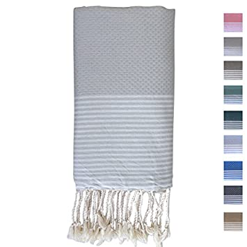 Premium Fouta Towel (Turkish Bath & Beach Peshtemal Towels) By FFsense - Oversized 78 x 39 Inches, Striped, Waffle Weave, Light Gray