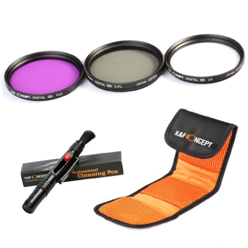 K&F Concept 77Mm Uv Cpl Fld Lens Accessory Filter Kit Uv Protector Circular Polarizing Filter For Canon 6D 5D Mark Ii 5D Mark Iii For Nikon D610 D700 D800 Dslr Cameras + Microfiber Cleaning Pen + Filter Bag Pouch