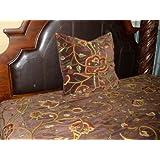 Crewel Pillow Euro Sham Lotus Dark Chocolate Cotton Velvet (26X26)