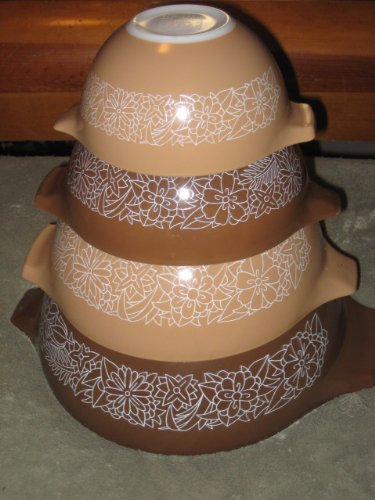 SET OF 4 - Vintage 1978 Pyrex WOODLAND Brown & Beige Cinderella Mixing Nesting Batter Bowl Set - 4 qt, 2 1/2 qt, 1 1/2 qt & 1 1/2 pint