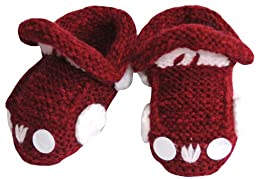 Knitted Baby Car Booties, Size: 3-12 M, Color: Burgundy