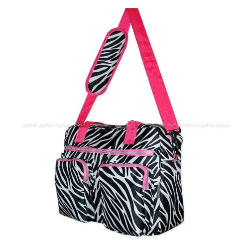 Track Black / White / Pink Zebra Messenger Bag Shoulder Tote Laptop