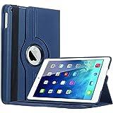 Bestwe Blau 360° Ledertasche Flip Case Tasche Etui für Ipad Air mit Ständerfunktion