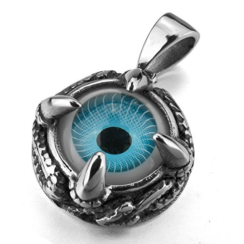 JBlue Jewelry Men's Stainless Steel Resin Pendant Necklace Silver Black Blue Skull Dragon Claw Evil Eye Snake Gothic-with 23 inch Chain (with Gift Bag)