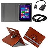 ECellStreet 360° Degree Rotating 7 Inch Flip Cover Diary Folio Case With Stand For Lenovo Tab 2 A7-10F - Brown...