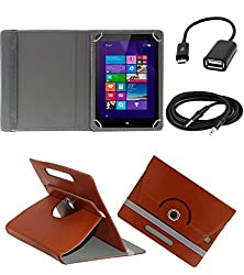 ECellStreet 360° Degree Rotating 7 Inch Flip Cover Diary Folio Case With Stand For Wishtel Ira Icon 3G - Brown + Free Aux Cable + Free OTG Cable
