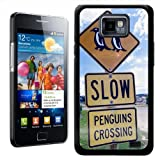 Fancy A Snuggle Penguin Crossing Design Hard Case Clip On Back Cover for Samsung Galaxy S2 i9100