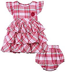 Oye Girls Tiered Dress With Bloomer - Pink (12-18M)