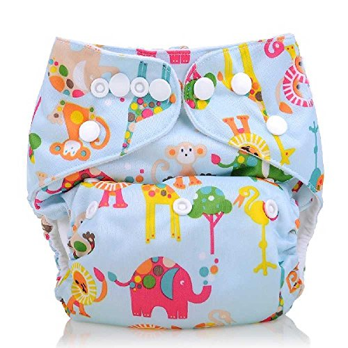 Baby Double Rows Of Snaps Environmental Washable Adjustable Pocket Cloth Diaper (Animals)