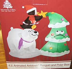 Polar bear penguin christmas tree for Animated polar bear christmas decoration
