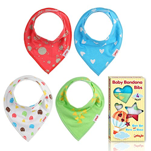 Bandana Baby Bibs - Multipack Unisex Burp Cloths - 4 Count: Green, White, Red, Sky Blue - for Girls and Boys from 3 to 18 Months for Drooling and Teething - Made of Soft Absorbent Organic Cotton