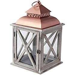 "Hallmark Home White Washed Lantern with Copper Top, Medium (17"" tall)"
