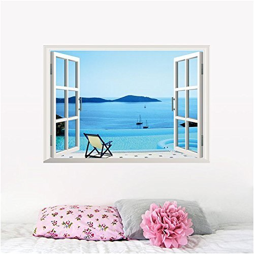 AWAKINK(TM) Large Removable Beach Sea 3D Window View Scenery Home Decoration DIY Removable Art DIY Decor Wall Stickers for Wall Decor Home Decor Wall Art Kids Room Bedroom Decor Living Room D¨¦cor