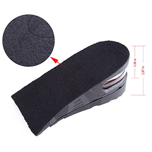 Flexzion Shoes Increase Insole Heel Height Lift Elevator Air Cushion Pad Half Insert 2 Removable Layer 3-5cm (Approximately 1.4-2 inches) Taller for Unisex Adult Men Women Size USA 4.5-9