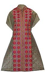 Phulkari Craft Women's Cotton Silk Unstitched Kurti (PC0015_Grey_Free Size)