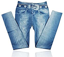 isweven Girls Slim Fit Jeggings(j13 Blue Free Size)