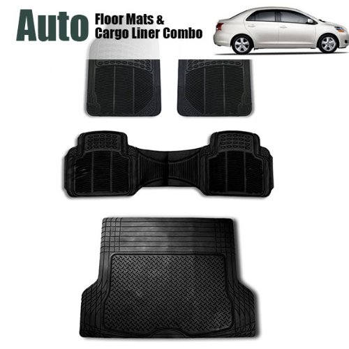 FH GROUP FH-F16404+F16400 Full Set Black All Weather Heavy Duty Auto Floor Mat and Black Trunk Cargo Liner (Forros Para Autos compare prices)