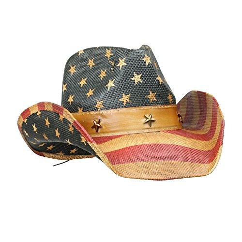 mens-vintage-tea-stained-usa-american-flag-cowboy-hat-w-western-shape-it-brim