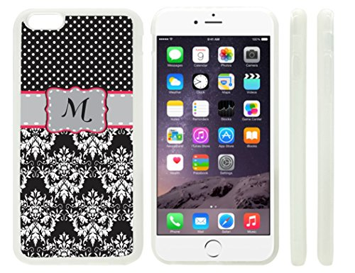 """Rikki Knighttm Rikki Knight Initial """"M"""" Grey Pink Black Damask Dots Monogrammed Design Iphone 6 Plus Case Cover (Clear Rubber With Raised Front Bumper Protection) For Apple Iphone 6 Plus front-577016"""