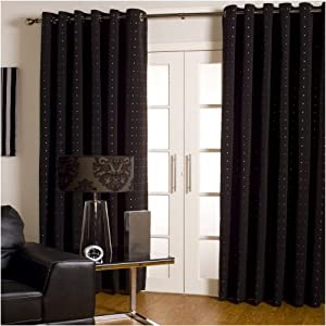 Extra Wide Long Lined Eyelet Curtains Black Silver 90x108 Kitchen Home