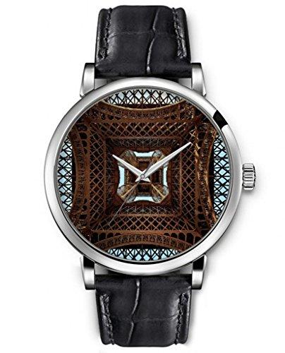 Sprawl Aanalog Ladies Women Top Wrist Watch Silver Large Face Black Leather Quartz Watches -- Unique Bottom View Of Eiffel Tower