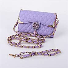 buy Borch Luxury 2 In 1 Hand Bag And Inclined Shoulder Bag Rhombus Design Camellia Pendant Purse Fashion Wallet Folio Leather Case Cover For Iphone 4 4S (Purple)