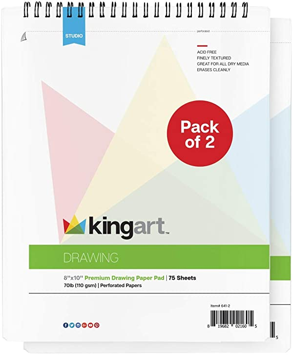 KINGART Drawing Paper Pad, Top Wire Bound, 70 LBS. (110G), 8 X 10 , 75 Sheets (Set of 2) (Color: White, Tamaño: 8 x 10 (Pack of 2))