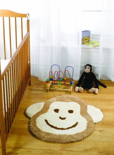 Nursery Cheeky Monkey Natural Novelty Rug Size: 80cm x 75cm (2 ft 7.5 in x 2 ft 5.5 in)