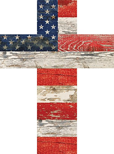 American Flag Patriotic Red White and Blue Crackled Design 14 x 10 Wood Wall Art Cross