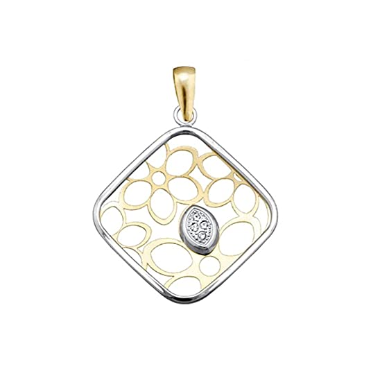18k gold pendant bicolor leaf diamond openwork zircons [AA4597]