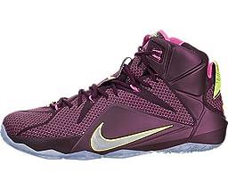 Nike Men\'s Lebron XII Merlot/Mtllc Silver/Vlt/Pnk Pw Basketball Shoe 9.5 Men US