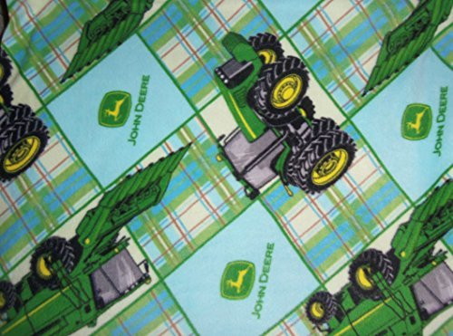 John Deere Fleece Blanket Baby Tractors Blue Patchwork Pet Stroller Hand Tied Yellow