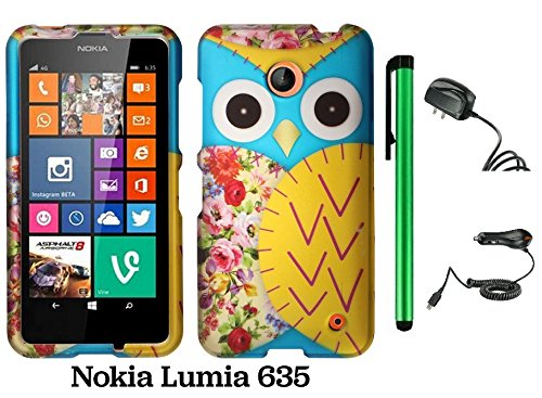 Nokia Lumia 635 (Us Carrier: T-Mobile, Metropcs, And At&T) Premium Pretty Design Protector Cover Case + Travel (Wall) Charger & Car Charger + 1 Of New Assorted Color Metal Stylus Touch Screen Pen (Blue Floral Owl)