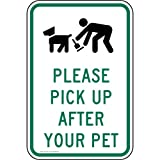 ComplianceSigns Aluminum Pets / Pet Waste sign, Reflective 18 x 12 in. with Pet Rules info in English, White