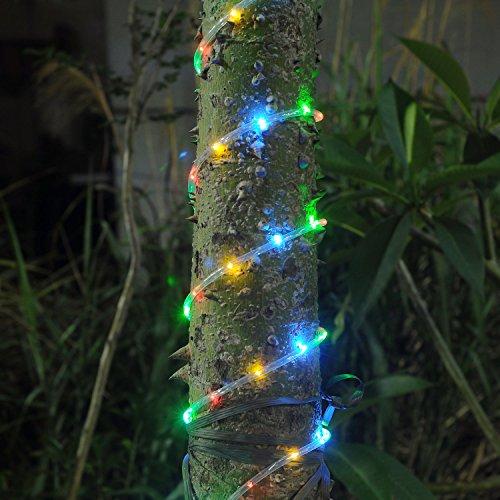 Solar Rope Tube 100 LED Starry String Garden Light 17 feet long total length (RGB), waterproof ...