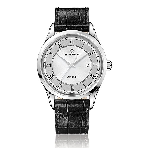 Eterna Artena Men's Quartz Watch with Grey Dial Analogue Display and Black Leather Strap 2520.41.55.1258
