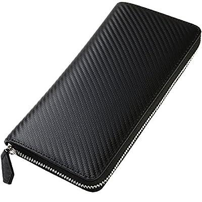 [ジルマン] カーボンレザー 長財布 本革 Ykk製 メンズ 01.ブラック×ブラック