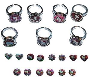 7 tlg set verstellbare ringe 7 paar ohrring sticker. Black Bedroom Furniture Sets. Home Design Ideas