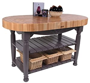 American Heritage Harvest Kitchen Island With Butcher Block Top Base Finish Sporty