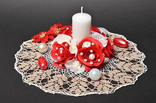 Bougie de mariage faite main Bougie décorée de fleurs rouges Accessoires mariage