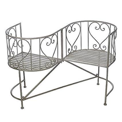 Hampton con espacio para los amantes de los Metal banco de muebles de jardín